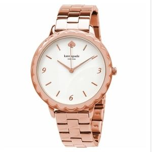 kate spade metro scallop three-hand rosegold watch